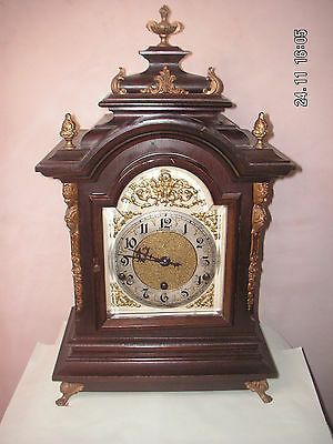 "German Victorian gilt-metal mounted Mahogany Westminster Chime Mantle Clock 20""H"