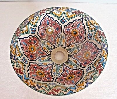 HAND PAINTED MULTI COLOUR  CERAMIC HAND WASH BASIN * FES POTTERY 36 cm (N12)