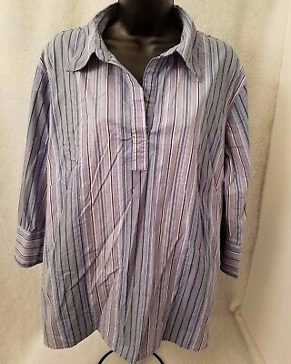 DCC Womens Light/Dark Blue/Purple/White/Black Striped Shirt Top Size 1X