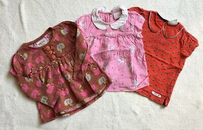 ***Next baby girl Red/Pink Apple/Cat print cotton top blouse x3 12-18 months***
