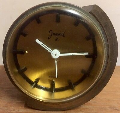 """French Made Jaccard 8 Gold Case Timepiece & Alarm Mantle Clock GWO 2.5""""D 1.25""""D"""