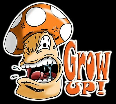 Mario Grow Up Mushroom 4 inch wide Vinyl Sticker