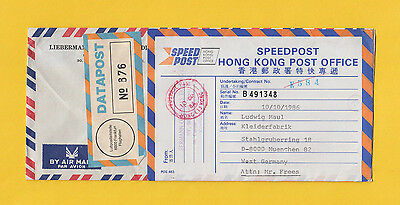 DATAPOST HONG KONG – Germany Postage Paid 10.10.86 Speedpost! very rare