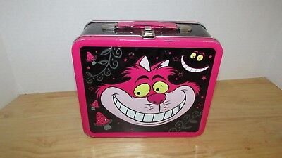 Disney Alice in Wonderland Cheshire Cat metal tin lunchbox used scratches dents