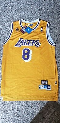 868016784e1 NWT XL Kobe Bryant  8 Los Angeles Lakers Yellow Retro Throwback Jersey  Stitched