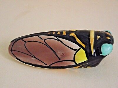Super French Vintage Vallauris CICADA Wall Pocket Vase Bright Colors 563