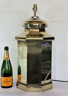 A Very Large Vintage Brass Table Lamp in an Antique Pillar Style