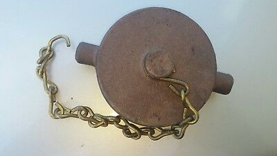 "3"" Rough Brass Fire Hydrant Cap with Chain"