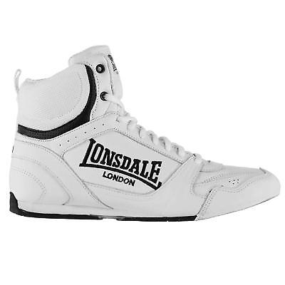 New Lonsdale Bout Low Senior Mens Boxing Boots Black White Shoes rrp £60