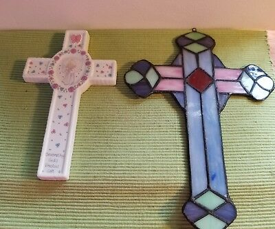 Vintage Pair (2)  Stained Glass Cross Suncatcher & 1991 Precious Moments Cross