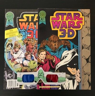 Star Wars 3D 1 & 2 Blackthorn Publishing 1987 With 3D Glasses
