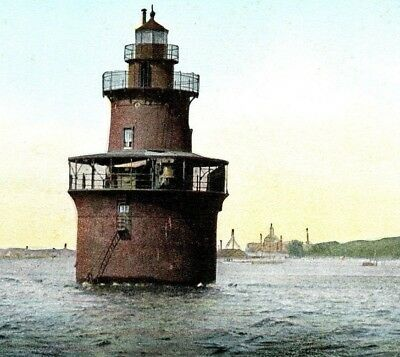 MOVED Dear Island Light Boston Harbor reef lighthouse sparkplug Vintage Postcard