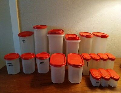 Vintage Tupperware 36-piece lot of Modular Mates Storage Containers w/ lids Red