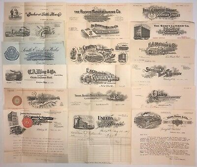 B881 US Lot of 18 Early Billheads and Letterheads 1907-1909 - Fine Condition