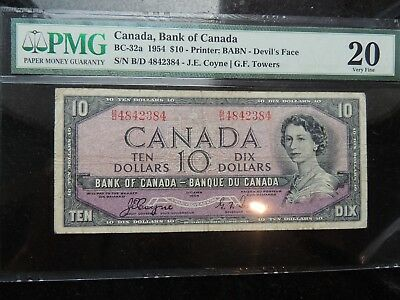 1954 BANK OF CANADA $ 10 TEN DOLLARS DEVILS FACE COYNE TOWERS BC-32a PMG VF-20