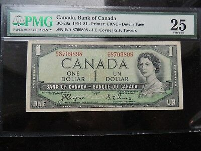 1954 BANK OF CANADA $ 1 ONE DOLLAR DEVILS FACE COYNE TOWERS BC-29a PMG VF-25