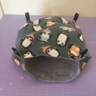 New Double Decker Quilted Hammock For Rats+small Animals. PENGUINS + GREY FLEECE