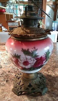 Bradley Hubbard B & H Oil Kerosene Lamp Floral Glass Base 1890's