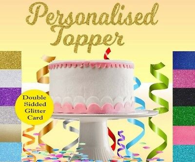 Custom Personalised Glitter Cake Topper Any Name Word Birthday Party Decoration