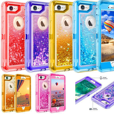 For iPhone 6/6S 6 Plus/6S Plus Liquid Glitter Defender Case (Clip Fits Otterbox)