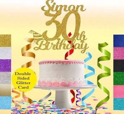 CUSTOM Glitter Cake Topper Personalised,16,18,21,40,50,60,30th Birthday Deco.