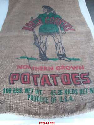 "North Country, Northern Grown  Vintage Burlap, Potato Sack 100 Lb 22"" X 36"""