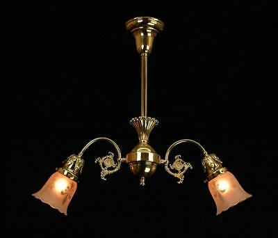 Antique Victorian Exquisite Early Electric Restored 2 Arm Polished Brass Fixture