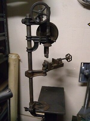 VINTAGE MILLER FALLS HAND-CRANK MECHANICAL ANTIQUE CLASSIC DRILL PRESS No21 WOW
