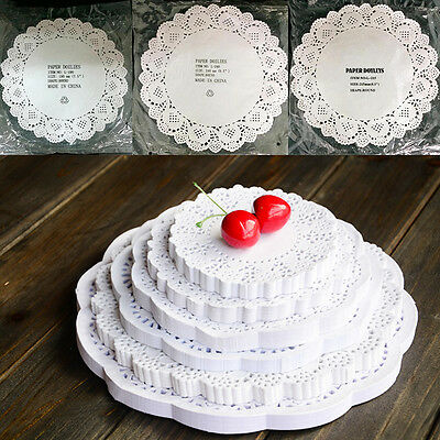 80X Lace Doily Wedding Party Cupcake Cake Cookies Round Paper Pads Placemat Gg