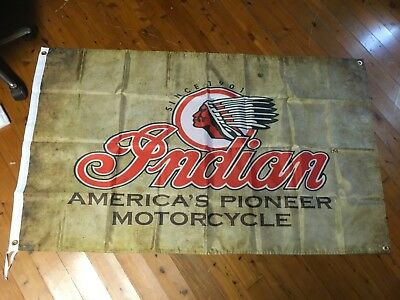 Man cave flag banner sign INDIAN MOTOR CYCLES pool room flag wall hanging