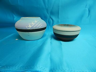 Native American Souix Pottery Signed by Eaglehawk Trinket Box and Blossom bowl