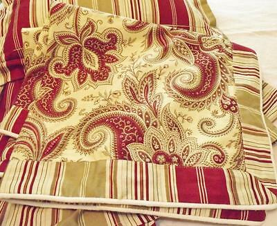 Waverly Red Khaki Paisley Striped Floral Rustic Retreat Shams, Bedskirt  Pillows