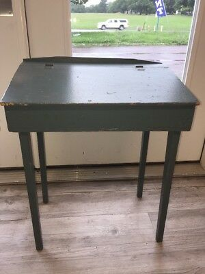 Vintage Wood Childs Desk Antique Primitive Painted Blue Green Teal Flip Top