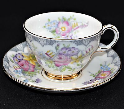 Rosina Fine China 4865 Floral Teacup Saucer Made in England