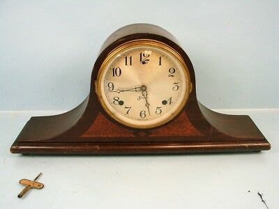 Early Vintage Wooden Sessions Mantel Clock Pendulum Movement Usa Made Colonial