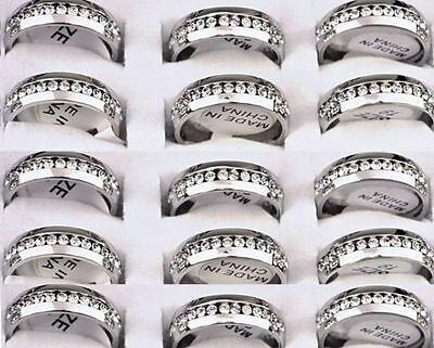 10x Comfort fit Zircon Stainless Steel CZ weddig Rings Wholesale Jewelry Job lot