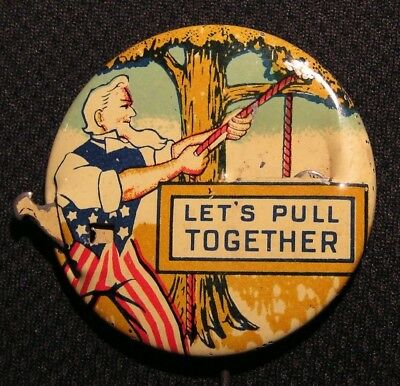 "Wwii ""lets Pull Together"" Uncle Sam - Anti Adolf Hitler Home Front Ww2 War Pin"