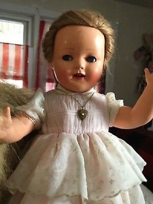 RAYNAL POUPEE CELLULOID Girl DOLL ANTIQUE ORIGINAL OUTFIT Googly Eyes Human hair