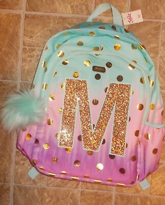 1240efe4a942 JUSTICE GIRLS LETTER Initial M Ombre Foil Dot Backpack NEW -  64.95 ...