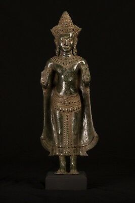 Antique Khmer Style Bronze Protection Standing Buddha Statue - 54cm/23""