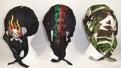 7 or 14 pc lot skull cap hat do doo rag assortments skulls fire camouflage flag+