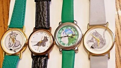 Vintage Character Watches w/ Kitty Cat & Dog ----  Lot of 4