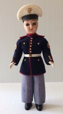 WW11 ~ Vintage Marine Boy Doll In Military Uniform  ~ From France RARE!