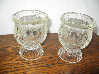 Pair Heavy  Glass Unusual Candle / Holders 10Cm Tall - From Avon Clearfire Excon