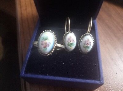 enamel filigree Ring and earrings finift