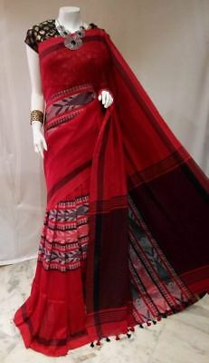 Indian Bollywood Handloom Cotton Saree with Fish Design Partywear Sari