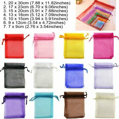 25-100x Luxury Organza Gift Bags Jewellery Pouch XMAS Wedding Party Candy Favour