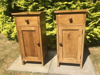Pair Of Bespoke Victorian Style Rustic Pine   Bedside Cabinets