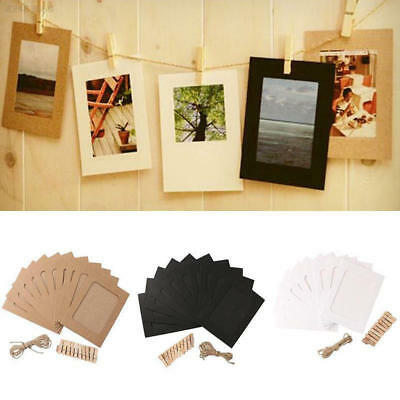 10 Set Vintage Paper Photo Frame DIY Wall Rope Clip Decor 3 Inch Creative