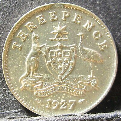 1927 Australia 3d Threepence** ERROR CLIP/DIE CRACK ** #RB1807-03 =HIGH GRADE=